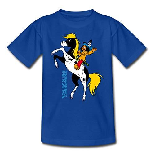 Yakari Pferd Kleiner Donner Steigt Kinder T-Shirt, 98-104, Royalblau