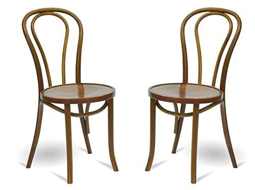 Juego de 2 sillas de comedor de madera maciza, silla de cocina, silla de madera de calidad gastronómica (marrón rústico) Fameg fabricada en Europa.