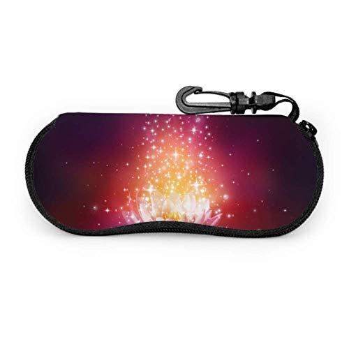 Hermosa Magical Magic Lotus Estuche para anteojos para niños Estuche para anteojos de dibujos animados Estuche ligero portátil con cremallera de neopreno Estuche blando Estuche para gafas de sol par