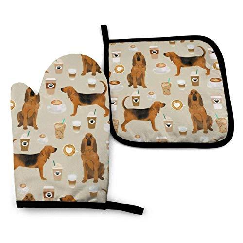 Bloodhound Dogs and Coffees Ofenhandschuhe und Topflappen-Sets Küchenhitzebeständige Ofenhandschuhe zum Grillen Kochen Backen Grillen (2-teilige Sets)