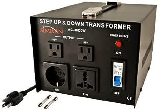 Simran AC-3000 Step Up/Down Voltage Converter Transformer 110V/220V - 3000 Watts by Simran