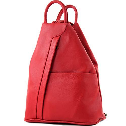modamoda de - T180 - ital Damen Rucksack Tasche Nappaleder, Farbe:Rot