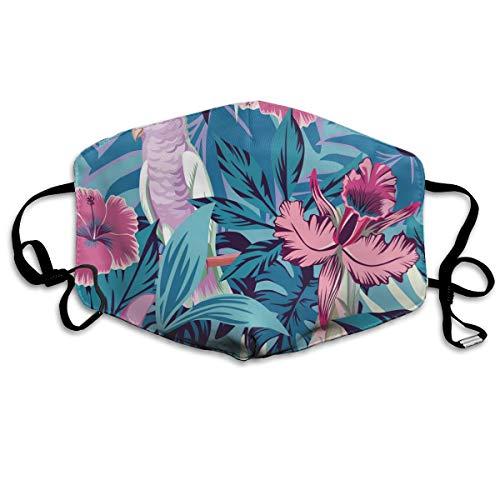 Houity stofdicht wasbaar masker, roze papegaai bloemen en planten blauwe achtergrond, zacht, ademend, wasbaar, knop verstelbare masker, geschikt voor mannen en vrouwen maskers