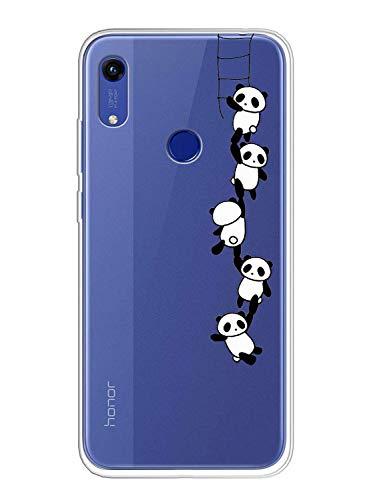 Oihxse Compatible pour Coque Samsung Galaxy M20 Étui Liquid Crystal Ultra Mince Transparent TPU Silicone Housse Protection Bumper Souple Mignon Modèle Anti-Rayures Case(Panda)