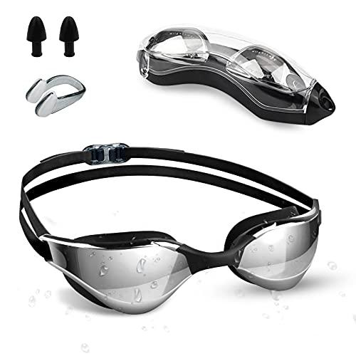 otumixx Schwimmbrille, Schwimmbrillen für Erwachsene Antibeschlag UV Schutz Verstellbar Gurt Komfort fit, Hrstöpsel & Nasenklammern Mitgeliefert, Schwimmbrille für Herren Damen und Kinder