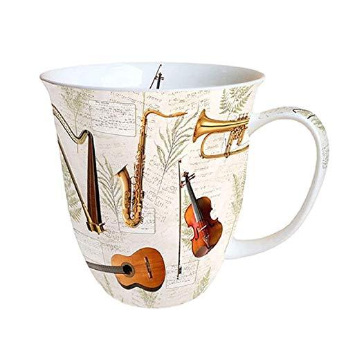 Ambiente Fine China Mug 0,4 Liter Music Musik Instrumente Geige Gitarre Harfe Saxophon Trompete Frühling Sommer Weiß Creme Gold Braun Schwarz