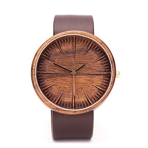 Ovi Watch, American Walnut Wooden Watch For Men, Powered with Swiss Movement and Sapphire Crystal Glass, Comes With Wooden Gift Box