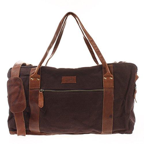 LECONI Reisetasche für Damen + Herren Canvas Handgepäck Leder Sporttasche Unisex groß Weekender für Reise, Urlaub und Kurztrip Wochenendtasche 55x30x21cm mokka LE2014-C