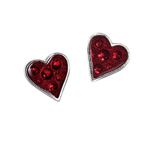ALCHEMY GOTHIC HEARTS BLOOD CRYSTAL ENAMEL STUD EARRINGS E332
