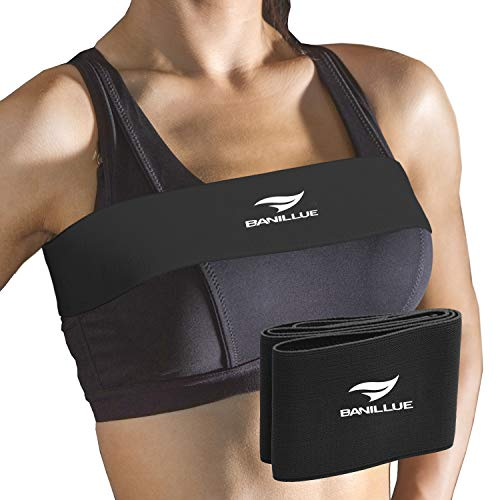 BANILLUE No-Bounce High-Impact Adjustable Extra Sports Bra Support Band Alternative,Breast Band for Breast Pain,Boob Bounce and Sagging,Black,Medium