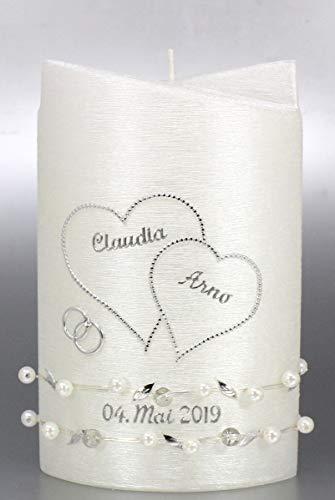 Hochzeitskerze modern Oval 19/13 cm, Silber -1291- mit Namen und Datum - Perlmutt-Struktur und Perlenband - Kerze zur Hochzeit - Brautkerze - Herz