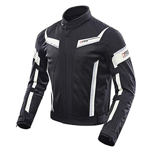 TIUTIU Motorjack voor heren, met beschermers en reflectoren, ademende zomer-net-motorkleding, anti-val, motorpak X-Large zwart
