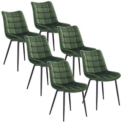 WOLTU BH142dgn-6 Sedie Sala da Pranzo Design retrò Sgabello Imbottito con Rivestimento in Velluto Verde 6 Pezzi