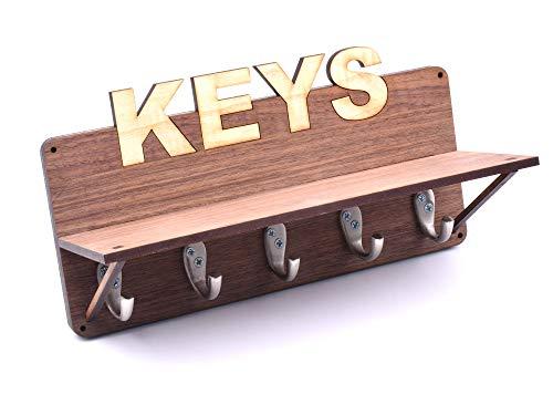 OriginCrafts Schlüsselbrett aus Walnussholz und Eschenfurnier mit Platz für fünf Schlüssel und EIN integriertes Regal