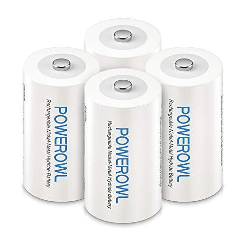 POWEROWL C Baby Akku 1.2V 5000mAh NI-MH C Wiederaufladbar Batterien mit Geringer Selbstentladung & Vorgeladene (4 Stück)