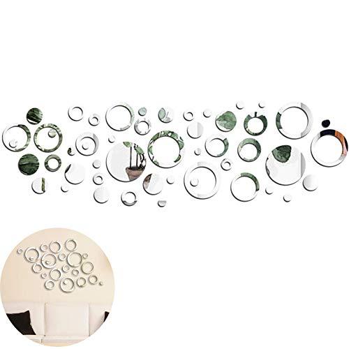 Specchio Adesivo Deco Silver Decalcomania Autoadesiva a Specchio Circolare Specchio Da Parete...