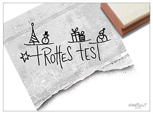 Stempel - Weihnachtsstempel FROHES FEST Handschrift mit Zeichnung - Textstempel Schriftstempel Karten Geschenk Deko - zAcheR-fineT