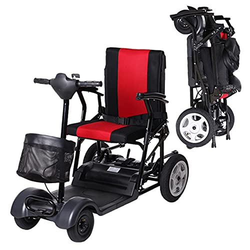 YX-ZD Scooter Movilidad 4 Ruedas para Adultos Mayores Discapacitados, Scooter Eléctrico Plegable para Silla Ruedas, Rango Crucero 25 Km, Marco Aleación Aluminio para Aviación,13Ah Lithium Battery