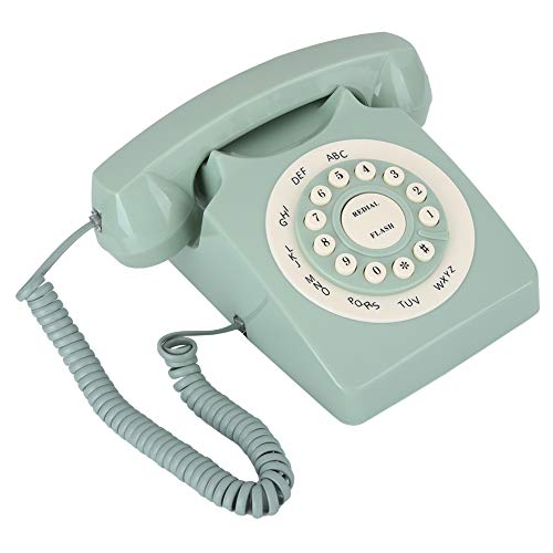 Vbestlife1 Línea Fija Europea Vintage, teléfono Antiguo de Alta definición, línea Fija con Cable Vintage, botón Transparente Grande, para el hogar, la Oficina, la decoración