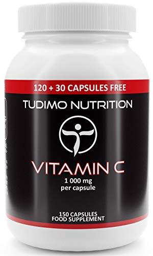 Vitamina C | 1000 mg | 150 Cápsulas Veganas (5 Meses de provisión) de Cápsulas de Desintegración Rápida, 1000mg de Polvo de Ácido Ascórbico Puro