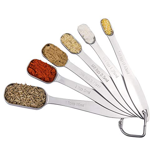 EDELIN Measuring Spoons 18/8 Stainless Steel Measuring Spoons Set of 6 Piece: 1/8 tsp, 1/4 tsp, 1/2 tsp, 3/4 tsp, 1 tsp, 1/2 tbsp & 1 tbsp Dry and Liquid Ingredients (Square spoon)