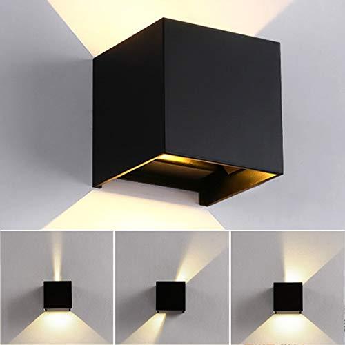 12W Wandlampe Warmweiß Wandleuchte Innen/Außen, 3000K LED Außenwandleuchte IP65 für Schlafzimmer, Wohnzimmer, Draussen, Verstellbarem Abstrahlwinkel, Schwarz[Energieklasse A++]