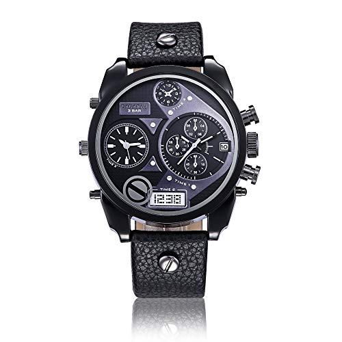 SJXIN schöne und stilvolle Uhr, CAGARNY Große Zifferblatt Uhr Männer Mode Doppel Zeitzone Gürtel Quarzuhr Männer Mode Uhren (Color : 5)