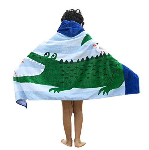 Comfysail 100% Baumwolle Kinder Kapuzen Poncho Handtuch Bade Badetuch für Jungen und Mädchen von 2-7 Jahren Strand 76 * 127cm (Krokodil)