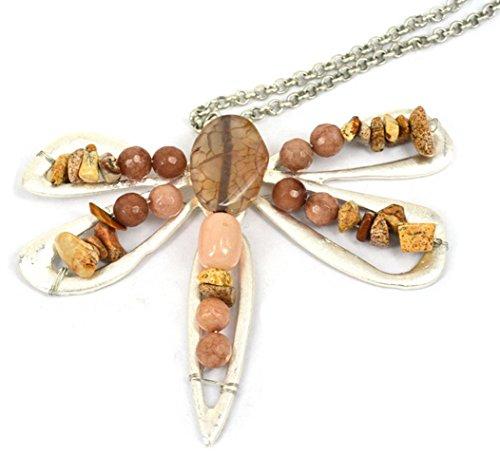 Fengteng Rétro Alliage Incrusté de Perles en Pierre Naturelle Libellule Pendant Collier Pull Chaîne (marron)