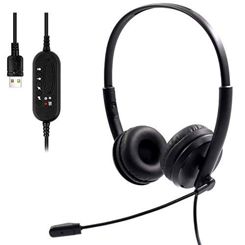 USB Headset mit Noise Cancelling Mikrofon für Computer, PC Headset mit Flexibles Mikrofon Laptop Headset, Inline-Steuerung mit Stummschaltung für Skype Voip/Anruf/Musik (Schwarz)