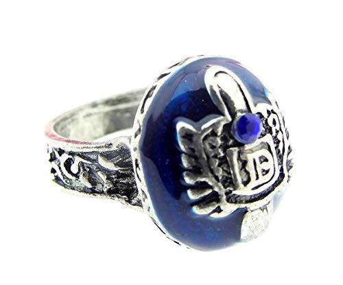 Zilveren ring en blauwe steen met blauwe schittering en embleem d met reliëf - tv-filmserie - mannenjongens - dagboek van een vampier - cadeau-idee