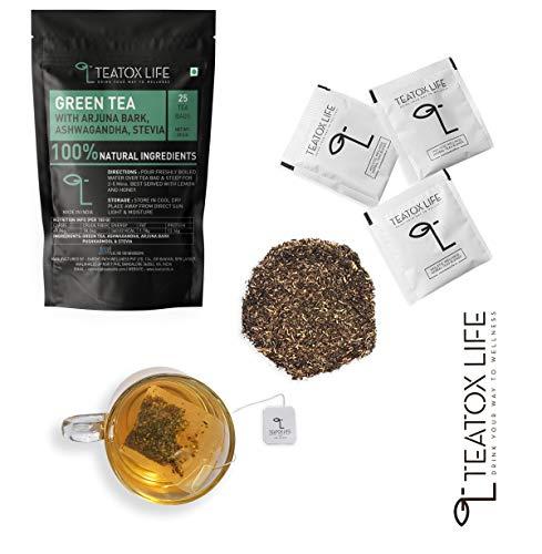 Vitamin C & Zinc Rich Green Tea with Ashwagandha, Arjuna Bark, Pushkarmool, Stevia | Antioxidant Rich Respiratory Support Immunity Boosting Ayurvedic Herbal Tea - 25 Tea Bags