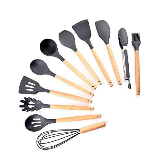 esonmus Utensilios Cocina de Silicona 11 Piezas Utensilios Cocina Madera Resistente al Calor Fácil de Limpiar Protección del Medio Ambiente