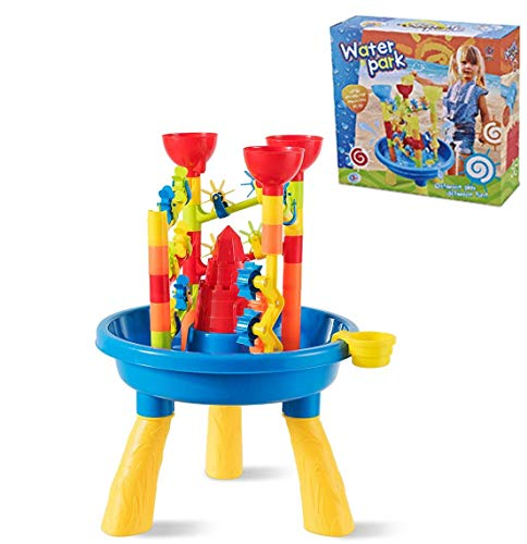 COSTWAY 30pcs Kids Building Block, Detachable Sand and Water Table Includes Play Castles & Water Windmills, Sand Shovels & Water Cup, Multiple Play Ways Beach Toy Set (Type2)