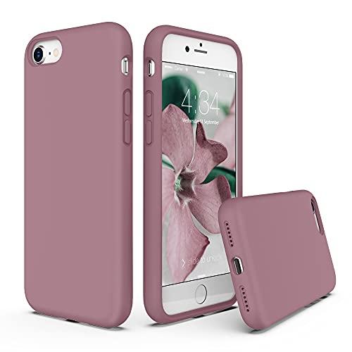 SURPHY Cover Compatibile con iPhone SE 2020 iPhone 8 iPhone 7, Custodia per iPhone SE 2020 8 7 Silicone Cover Antiurto con Fodera in Microfibra Case per iPhone SE 2020 8 7 4.7 Pollici (Rosa Viola)