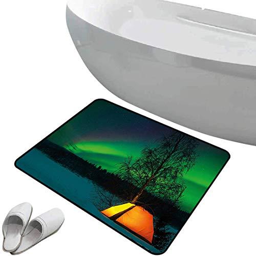 Alfombra de baño antideslizante Auroras boreales suave antideslizante Tienda de campaña en campo magnético Imagen de naturaleza,multicolor, Para ducha Felpudo Dormitorio Sala de estar Cocina
