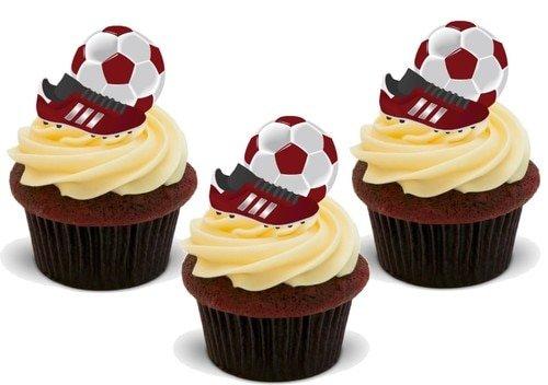 ROTER FUßBALL BALL UND FUßBALLSCHUH - 12 essbare hochwertige stehende Waffeln Kuchen Toppers - Football Ball and Boot RED