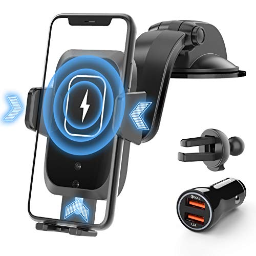 SHAWE Wireless Car Charger, 15W Qi Fast Charging Auto-Clamping Car Mount Charger Windshield Air Vent Car Phone Holder Compatible with iPhone 11/11 Pro/Xs MAX/XR, Samsung S10/S9/S8 & Other Qi Cellphone