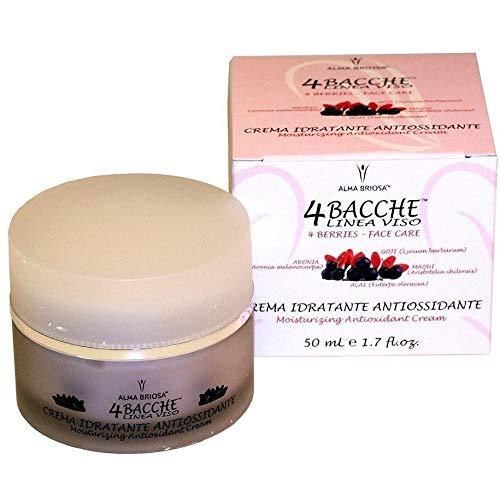 ALMA BRIOSA - 4 Bayas - Crema Facial Hidratante Antioxidante - para pieles normales y mixtas - con ácido hialurónico - Base de maquillaje excelente - Prueba de níquel - Vegan - 50 ml