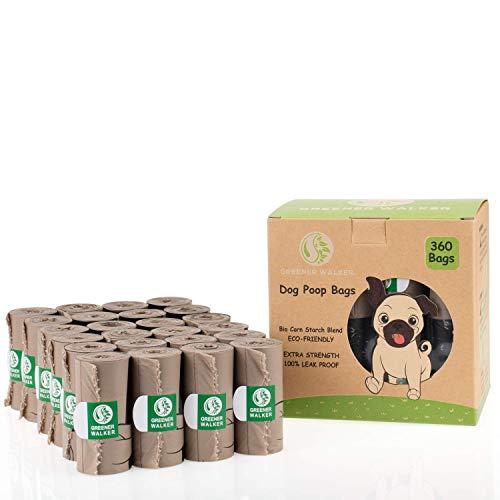 Greener Walker Hundekotbeutel für Hundeabfälle, extra dick, stark, 100 % auslaufsicher, biologisch abbaubar, 360 Stück