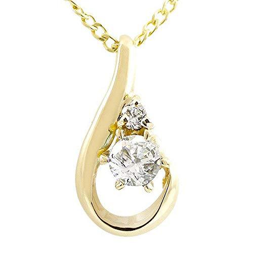 [アトラス] Atrus ネックレス レディース 18金 イエローゴールドk18 ダイヤモンド ダイヤモンド ペンダント トップ ティアドロップ 4月誕生石 チェーン(sv925イエローメッキ)