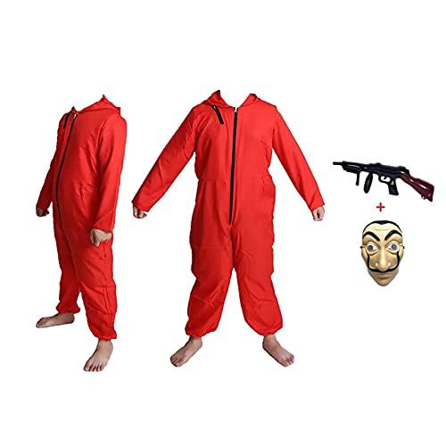 HONGXUNJIE Halloween Tuta da Rapinatore di Banche per Carnevale Costume da Ladro Tuta Rossa Pagliaccetto Manica Lunga Cappuccio,Carnival Cosplay Costume (Adult-L-175-180) (Adult-L-175-180)