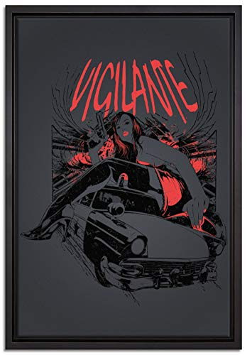 Pixxprint Vigilante Black Leinwandbild 60x40 cm im Bilderahmen | Wandbild | Schattenfugenrahmen | Kein Poster
