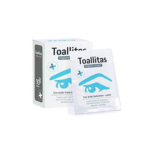Toallitas Oftálmicas Estériles 10 unidades (Acido Hialurónico + Caléndula + Hammamelis) Higiene de párpados y pestañas.