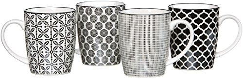 Ritzenhoff & Breker Kaffeebecher-Set Takeo, 4-teilig, 350 ml, Porzellangeschirr, Schwarz-Weiß