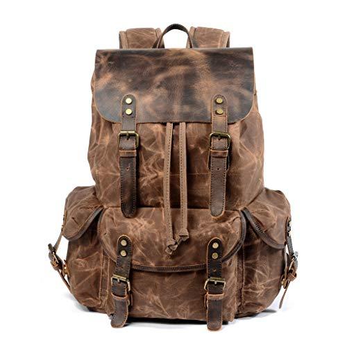 Vintage Rucksack, wasserdicht und atmungsaktiv Canvas-Tasche, lässige Outdoor-Wandertasche (Color : Brown, Size : 33 * 15.5 * 47cm)