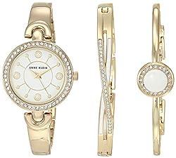 AK/3574WTST Swarovski Crystal Accented Watch and Bracelet Set