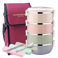 ABFJL バッグや再利用可能な食器セットの熱食品保存容器と熱ランチボックス - ランチボックス漏れ防止のステンレス鋼スタッカブルランチボックス