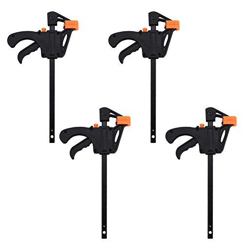 4pcs F-Clamp, 4inch Bar Quick Clip Grip Ratchet Release Squeeze Woodworking DIY Carpenter Hand Tool Kit with Plastic Grip and Pad Protector
