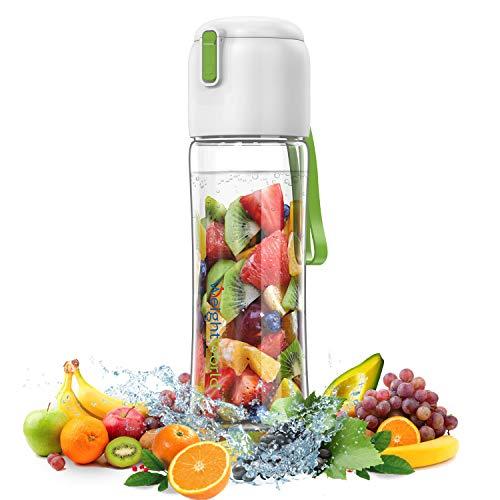 Botella de Agua Infusor para Frutas y Verduras, Botella Reutilizable 650/800 ml con Filtro para Disfrutar del Agua Mineral con sabores, Para Yoga, la Oficina o el Gimnasio, Sin BPA Ideal para Niños